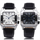 New Men Square Automatic Mechanical Deluxe Leather Watch Calendar Multi Function