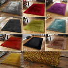 SMALL - LARGE SEMI-GLOSS SHINY SILKY SOFT PILE THICK SHAGGY BORDER SABLE 2 RUG