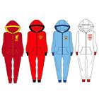 Childrens Boys Official Football Hooded Onesie Pyjamas All In One Age 9-14 Years