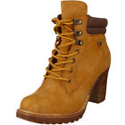 Womens Suede Lace Up Front Smart Cleated Chunky Heel Ankle Boots Shoes