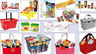 Childrens Shopping Baskets Filled Pretend Play Food Metal Plastic Kids Shops NEW