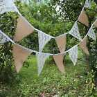 12 Flags Lace Burlap Handmade Vintage Triangle Flag Bunting Banners For Wedding