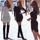 Ladies Sexy Skinny Bodycon Pencil Cocktail Party Evening Long Sleeve Mini Dress