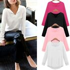 Womens V Neck Long Sleeve T-Shirt Cotton Casual Blouse Tops Fashion Blouse LXJ