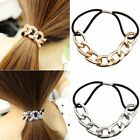 1x Fashion Silvery Golden Metal Chain Elastic Hair Band Rope Ring For Lady Women