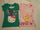 HELLO KITTY Girls M or L Short Sleeve Pink Green Choice Cotton Shirt NWT
