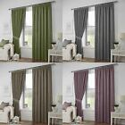 Curtina® LINED WOVEN TAPE CURTAINS LEIGHTON GREEN HEATHER GREY MOCHA