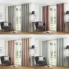 CURTINA® LINED EYELET CURTAINS MELROSE STRIPE RED SPICE CHARCOAL DUCK EGG