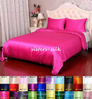 16 Momme 100% Pure Silk Duvet Quilt Cover Fitted Flat Sheet Set Size Queen