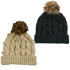 SALE ITEM WAS £16.99 Brave Soul LHAT-247 Sophie Womens Knitted Bobble Hat