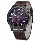 Fashion Curren Men's Leather Stainless Steel Sport Analog Quartz Wrist Watch