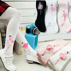 Gorgeous Girls Lace Flower Soft Cotton Ballet Dance Long Socks Stocking Tights