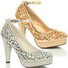 WOMENS LADIES HIGH HEEL PLATFORM ANKLE STRAP EMBELLISHED GEMS COURT SHOES SIZE