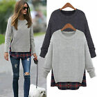 Womens Oversized Plaid Casual Jumper Tops Warm Sweatshirt Sweater Pullover S-4XL