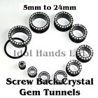 5mm to 24mm Crystal Surround Gem Screw Back Tunnels / Plugs
