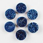 Wholesale 10mm Round Blue Agate Titanium Druzy Bead Side Hole TLS005-6