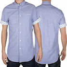 Voi Jeans Mens Geek Short Sleeved Shirt New Designer Branded Button Up Top Tee