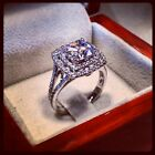Engagement Ring 3ct Carat Cushion Cut Diamond Double Halo VVS1 Duet Solitaire