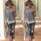 Women's Ladies Long Sleeve Blouse Lace Shirt Tee Jumper Pullover T-Shirt Tops