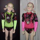 OUTRAGEOUS Leotard LIME or PINK Jazz Tap Dance Costume Child Small and X-Small