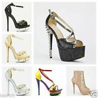 Womens ladies high heel peep toe shoes platforms new stiletto party spiked studs