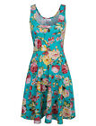 TAM WARE Womens Casual Fit and Flare Floral Sleeveless Dress (TWCWD054)
