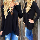 Fashion Sexy Womens V-Neck Lace-up Long Sleeve Tops Casual Loose T-shirt Blouse