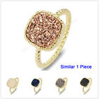1Pcs Size 5~8 Square Natural Druzy Titanium Gold Plated Bezel Ring 12mm HZG058