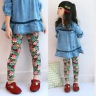 New Kids Girls Charming Floral Thick Cotton Leggings Pants Trousers 3-8 Y P411
