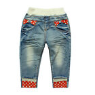 New Kids Girls Toddlers Special  Dots Bows Denim Trousers Pants 1-3T P848