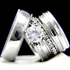 2.04 CT Clear Solitaire CZ Engagement 316 L Stainless Steel Wedding Rings Set