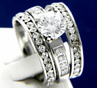 Brilliant Cut CZ Solitaire Engagement Stainless Steel Wedding Bridal Rings Sets