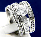 New 3 PCS 2.04 CT CZ Women's Engagement Stainless Steel Wedding Bridal Ring Set