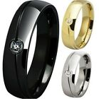 6MM Size 5-15 Stainless Steel Wedding Band Anniversary Engagement Black Gold