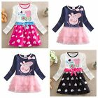 new Kids Peppa pig dress for girls dress longsleeved topprincess clothing 2-6Yrs