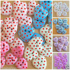 5 spot heart buttons  ( style 2) blue pink white valentines love hearts