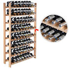 New 120 Bottle Wood Wine Rack 8 Tier Storage Display Shelves Kitchen Natural