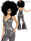 Ladies Disco Diva Costume Adult 70s Fancy Dress Costume Catsuit Outfit UK 8 - 14