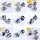 Vintage 5x European Flower Crystal Inlaid Tibetan Silver Loose Beads Big Hole