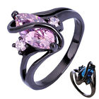 Women's Black Gold Plated Ring Cubic Zirconia Statement Copper Jewelry Fashion