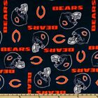 """Fleece Fabric Pre Cut Chicago Bears 60"""" W 100% Polyester NFL Licensed BTY!"""