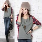 Women Gril`s Long Sleeve Plaid Checked Casual Loose T-Shirt Tops Blouse Hot