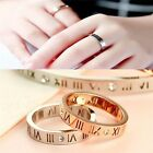 1PC Rose OR White Gold Hollow Roman Number Diamond Band Ring Finger Jewelry Gift