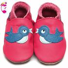 Girls Luxury Leather Soft Sole Baby Shoes - Bluebird Fuschia - Inch Blue