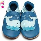 Girls Boys Luxury Leather Soft Sole Baby Shoes - Whale Blue - Inch Blue