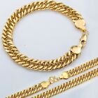 9.5mm MEN Chain Double Curb Yellow Gold Filled Bracelet Necklace GF Jewelry SET