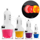 Dual USB LED Light Rose Car Power Charger Adapter For Smart Phone Iphone Samsung