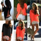 Womens Summer Sexy Style Loose Casual Long Sleeve Backless T Shirt Blouse Tops