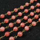 16Ft 5~6mm Pink Jade Faceted Rondelles Rosary Beaded Chain Wire Wrapped BJT069