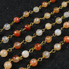 16Ft 5~6mm Natural Agate Rondelles Seed Rosary Beaded Chain Wire Wrapped BJT072